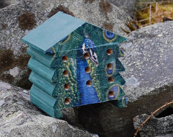 Green Peacock - Wooden Bee Hive House - Insect House - Bug Hotel - Bee House - Gardening Gifts - Garden - Scottish Gifts