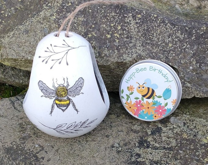 Happ-Bee Birthday Gift Set - Busy Bee Two Tone White and Grey Ceramic Wild Bird Seed Feeder and Wildflower Seed Bombs - Orange