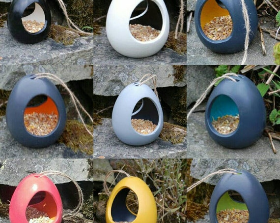 Bird Feeder Choose Your Own Colours Ceramic Bird Seed Feeder  Two Tone - Gardening Gifts - Birds - Apple - Balls