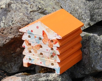 Orange Butterfly - Wooden Bee Hive House - Insect House - Bug Hotel - Bee House - Gardening Gifts - Garden - Beehive