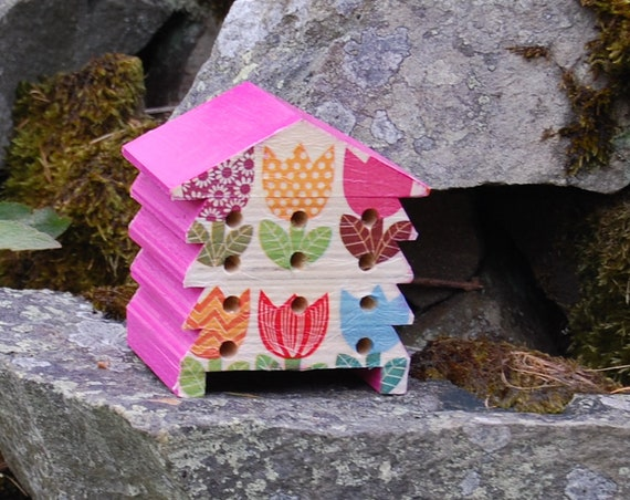 Hot Pink Rainbow Tulips  - Wooden Bee Hive House - Insect House - Bug Hotel - Bee House - Gardening Gifts - Garden - Scottish Gifts