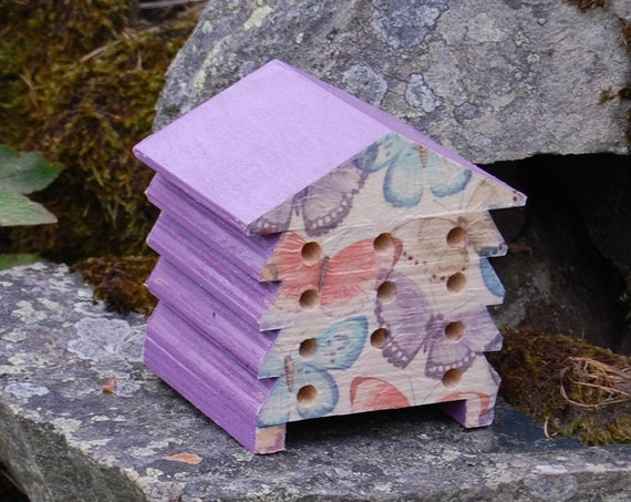 Purple Pastel Rainbow Butterfly  - Wooden Bee Hive House - Insect House - Bug Hotel - Bee House - Gardening Gifts - Garden - Beehive