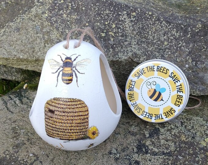 Save The Bees Gift Set - Bee and Hive Two Tone White and Cream Ceramic Wild Bird Seed Feeder and Wildflower Seed Bombs - Yellow