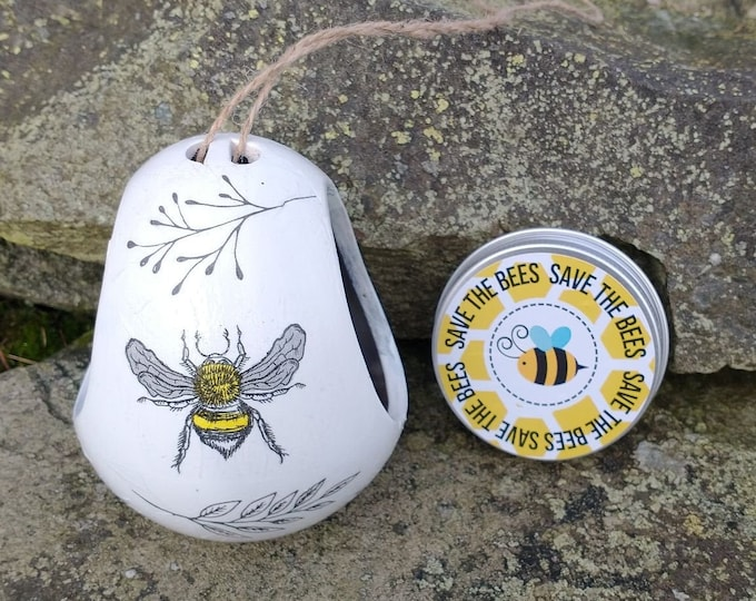 Save The Bees Gift Set - Busy Bee Two Tone White and Grey Ceramic Wild Bird Seed Feeder and Wildflower Seed Bombs - Yellow