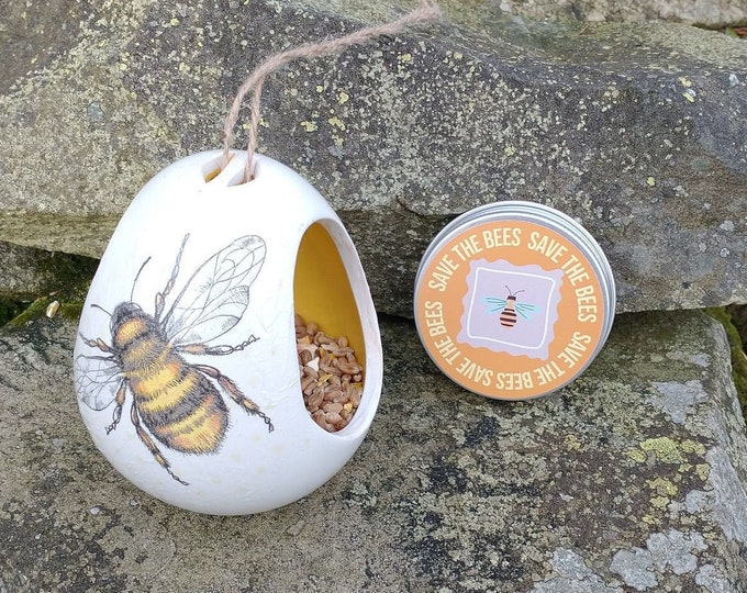 Save The Bees Gift Set - Bumble Bee Two Tone White and Yellow Ceramic Wild Bird Seed Feeder and Wildflower Seed Bombs - Orange