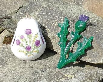 Purple Scottish Thistle Feeder Christmas Gift Set Ceramic Wild Bird Seed Feeder & Scottish Thistle Cast Iron Decorative Hanger