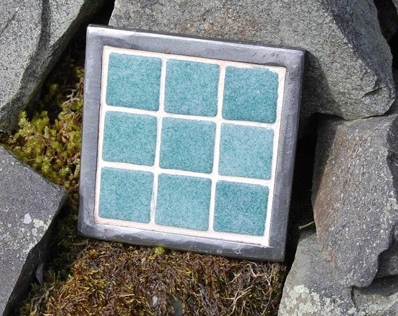 Up-cycled Plant Pot Stand – Sea Green Mosaic - Trivet – Garden Art – - Gardening Gifts - Garden - Scottish Gifts - Scotland