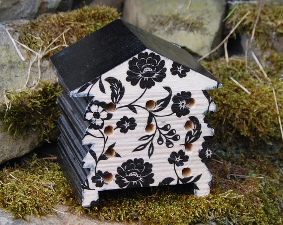 Black & White Flowers Floral Vine Wooden Bee Hive House - Insect House - Bug Hotel - Bee House - Gardening - Garden - Gothic - Goth