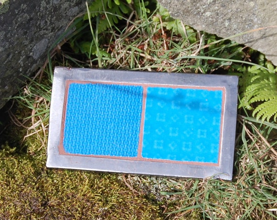 Upcycled Plant Pot Stand – Trivet – Garden Art – Turquoise Patchwork - Gardening Gifts - Garden - Scottish Gifts - Scotland