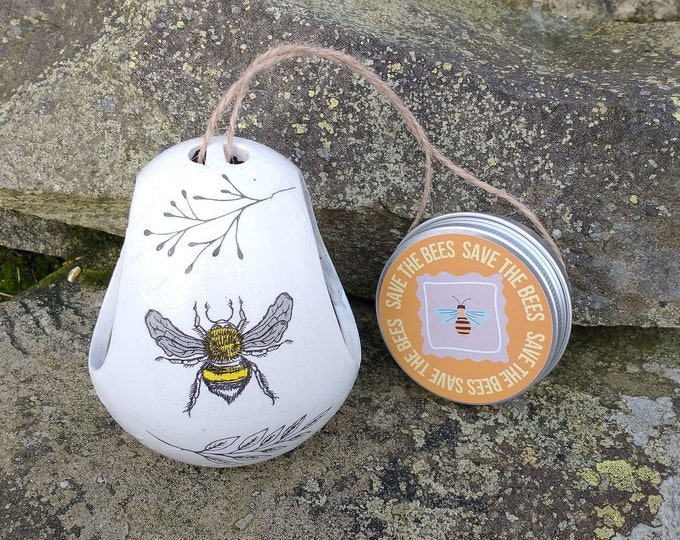 Save The Bees Gift Set - Busy Bee Two Tone White and Grey Ceramic Wild Bird Seed Feeder and Wildflower Seed Bombs - Orange