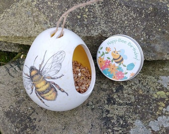 Happ-Bee Birthday Gift Set - Bumble Bee Two Tone White and Yellow Ceramic Wild Bird Seed Feeder and Wildflower Seed Bombs - Orange
