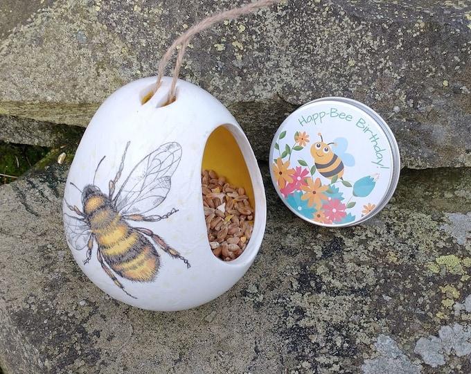 Happ-Bee Birthday Gift Set - Bumble Bee Two Tone White and Yellow Ceramic Wild Bird Seed Feeder and Wildflower Seed Bombs - Orange