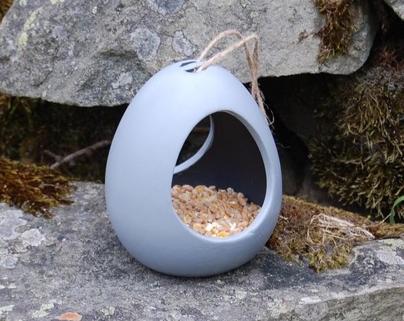 Two Tone Grey Gray  Ceramic Wild Bird Seed Feeder  - Gardening Gifts - Scottish Gifts - Birds - Apple - Balls