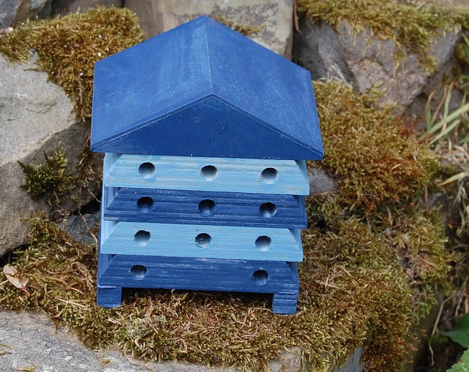 Wooden Bee Hive House - Blue Stripe - Insect House - Bug Hotel - Bee House - Gardening Gifts - Garden - Beehive - Scotland