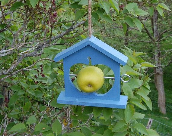 Periwinkle Blue Wooden Bird Feeder - Gardening Gifts - Scottish Gifts - Birds - Apple - Balls - Scotland - Gardener - Nature - Garden
