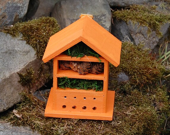 Orange  Wooden Insect House - Bug Hotel - -Beasts Vacation - Bee House - Gardening Gifts - Garden - Scottish Gifts - Scotland