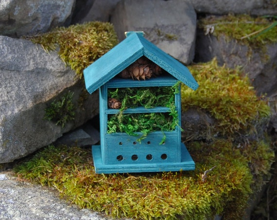 Dark Green  Wooden Insect House - Bug Hotel - -Beasts Vacation - Bee House - Gardening Gifts - Garden - Scottish Gifts - Scotland-