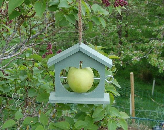 Green Wooden Bird Feeder - Gardening Gifts - Scottish Gifts - Birds - Apple - Balls - Scotland - Gardener - Nature - Garden