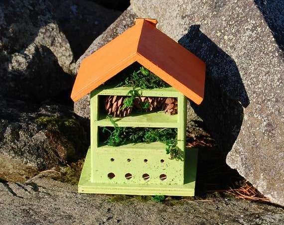 Two Tone Green & Orange Wooden Insect House - Bug Hotel - -Beasts Vacation - Bee House - Gardening Gifts - Garden - Scottish Gifts -