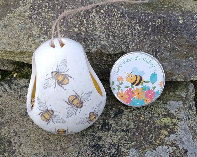 Happ-Bee Birthday Gift Set - Busy Bees Two Tone White and Yellow Ceramic Wild Bird Seed Feeder and Wildflower Seed Bombs - Orange