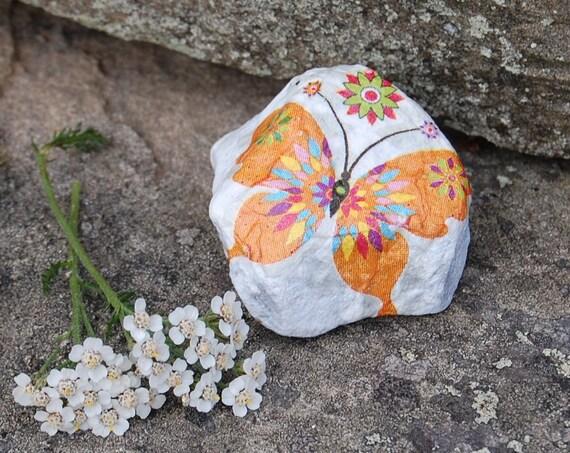 Retro Hippy Orange Patchwork Butterfly Plant Pot Pal Garden Art - Garden Stone - Paper Weight - Garden Decor - Decorative Sculpture