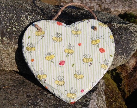 Bee Happy Busy Bumble Bee Bees Green Stripes and Red Flowers Slate Heart Hanger - Hanging Heart  - Garden Decor - Decorative Sculpture
