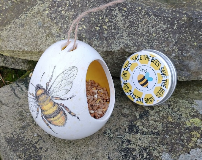 Save The Bees Gift Set - Bumble Bee Two Tone White and Yellow Ceramic Wild Bird Seed Feeder and Wildflower Seed Bombs - Yellow