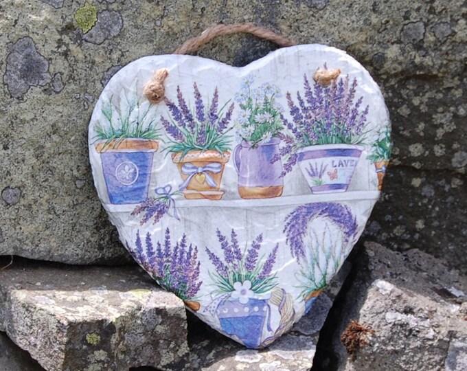 Lavender Potting Shed Slate Heart Hanger - Hanging Heart  - Garden Decor - Decorative Sculpture