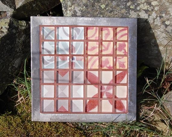 Upcycled Plant Pot Stand – Trivet – Garden Art – Autumn Glass Mosaic - Gardening Gifts - Garden - Scottish Gifts - Scotland