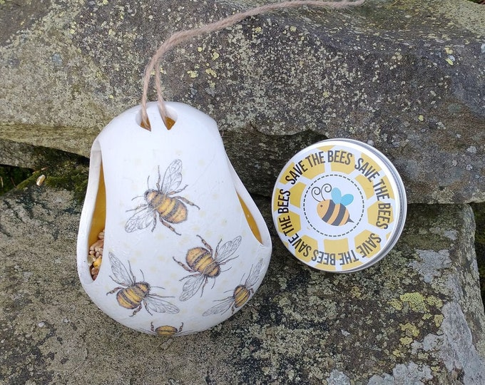 Save The Bees Gift Set - Busy Bees Two Tone White and Yellow Ceramic Wild Bird Seed Feeder and Wildflower Seed Bombs - Yellow