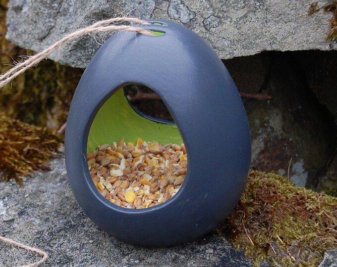 Two Tone Dark Grey Gray and Lime Green Ceramic Wild Bird Seed Feeder  - Gardening Gifts - Scottish Gifts - Birds - Apple - Balls - Suet