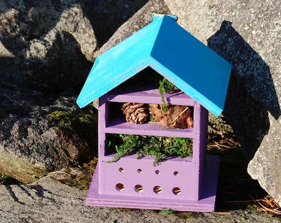 Two Tone Purple & Blue Wooden Insect House - Bug Hotel - -Beasts Vacation - Bee House - Gardening Gifts - Garden - Scottish Gifts -