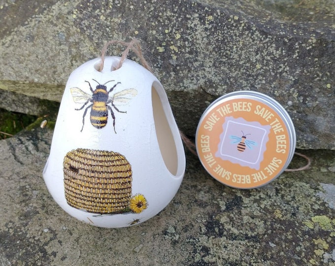 Save The Bees Gift Set - Bee and Hive Two Tone White and Cream Ceramic Wild Bird Seed Feeder and Wildflower Seed Bombs - Orange