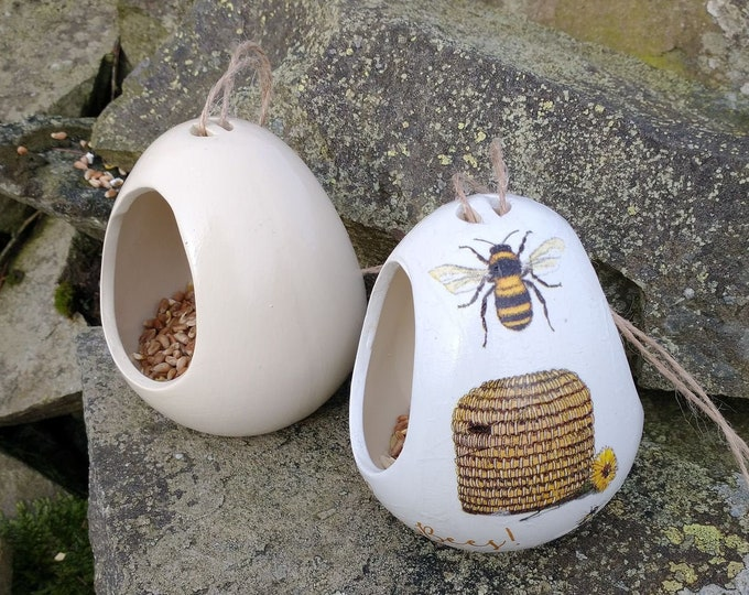 Save The Bees Cream Ceramic Bird Feeder Gift Set Wild Bird Seed Feeder, set of two, garden, gardening