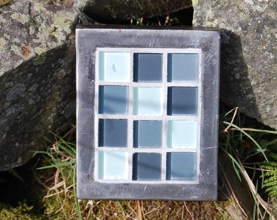Up-cycled Plant Pot Stand – Grey Glass Patchwork Mosaic - Trivet – Garden Art – - Gardening Gifts - Garden - Scottish Gifts - Scotland