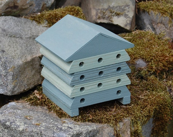 Wooden Bee Hive House - Green Stripe - Insect House - Bug Hotel - Bee House - Gardening Gifts - Garden - Scottish Gifts - Scotland