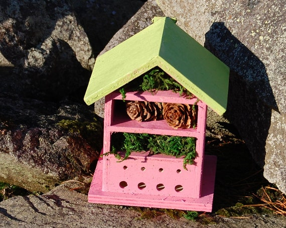 Two Tone Green & Pink Wooden Insect House - Bug Hotel - -Beasts Vacation - Bee House - Gardening Gifts - Garden - Scottish Gifts - Scotland-