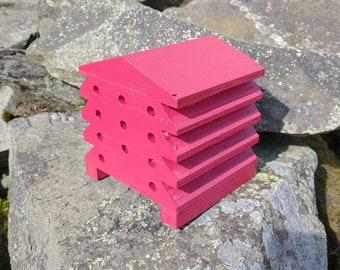 Bee House Red Wooden Beehive Insect Bug Hotel Gardening Gifts - Save The Bees