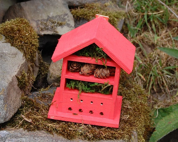 Deep Orange  Wooden Insect House - Bug Hotel - -Beasts Vacation - Bee House - Gardening Gifts - Garden - Scottish Gifts - Scotland