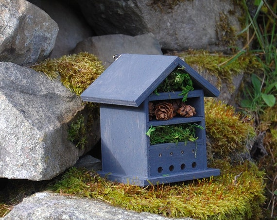 Dark Grey Gray Wooden Insect House - Bug Hotel - -Beasts Vacation - Bee House - Gardening Gifts - Garden - Scottish Gifts - Scotland-