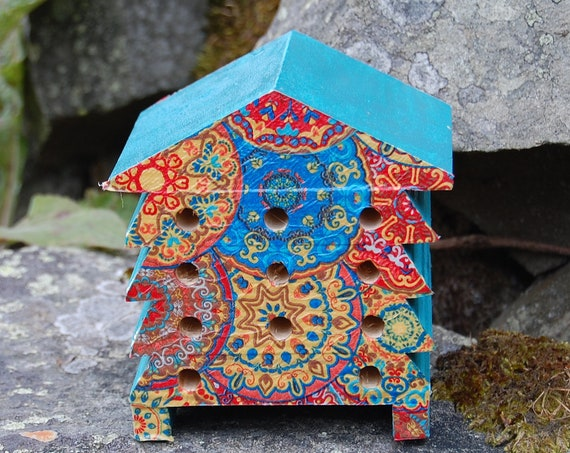 Mandala Rainbow Teal  Hippy Retro - Wooden Bee Hive House - Insect House - Bug Hotel - Bee House - Gardening Gifts - Garden - Beehive