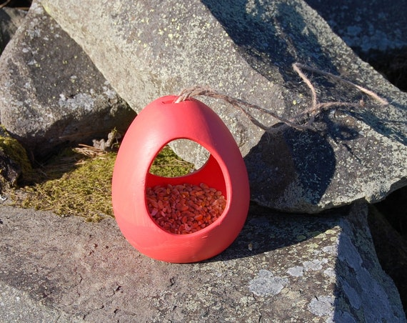 Sun Burnt Orange Ceramic Wild Bird Seed Feeder  - Gardening Gifts - Scottish Gifts - Birds - Apple - Balls - Scotland - Nature - Garden