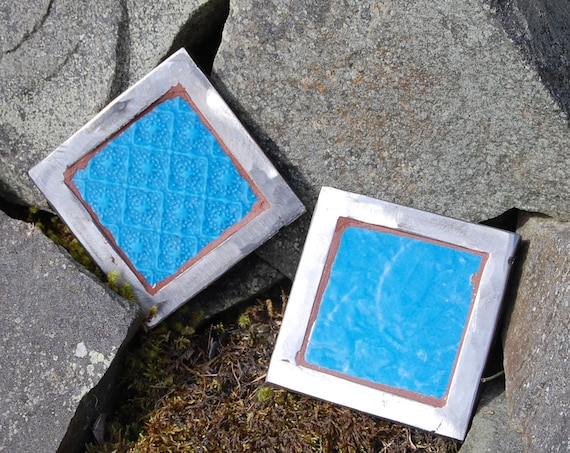 Set of Two Up-cycled Plant Pot Stands – Trivet – Garden Art – Turquoise Textured - Gardening Gifts - Garden - Scottish Gifts - Scotland