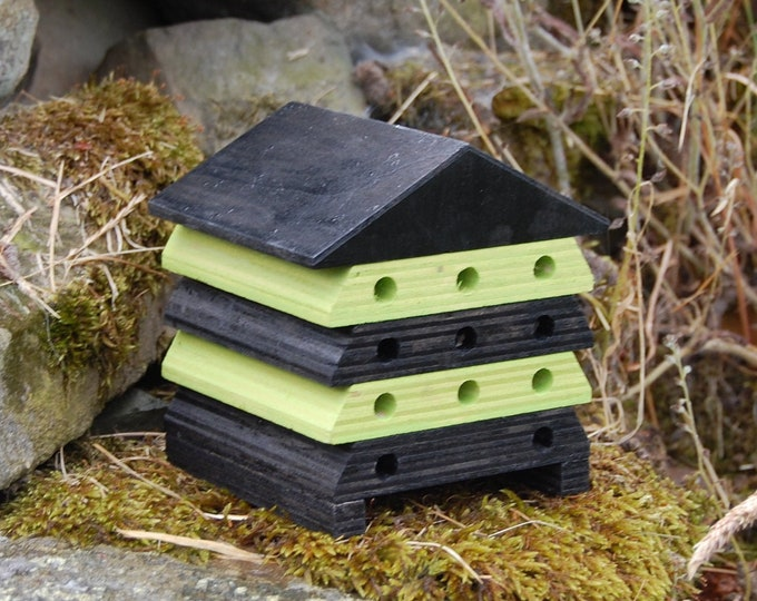 Wooden Bee Hive House - Black and Lime Green Stripe - Insect House - Bug Hotel - Bee House - Gardening Gifts - Garden  - Scotland