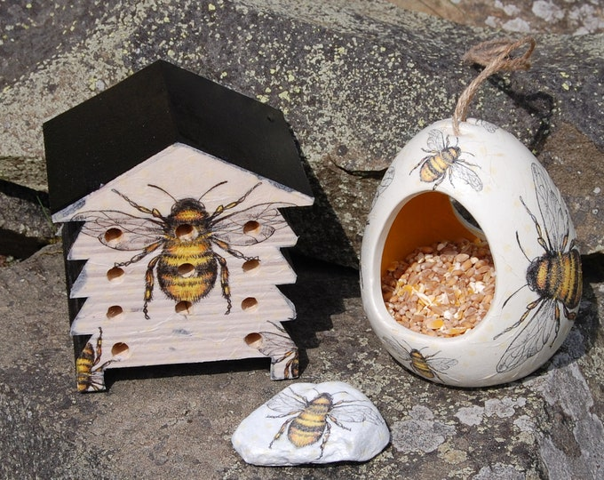 Bee Lovers Busy Bees Bumble Bee Bird Feeder, Beehive Insect House, Plant Pot Pal 3 Piece Christmas Gift Set Ceramic Wild Bird Seed Feeder