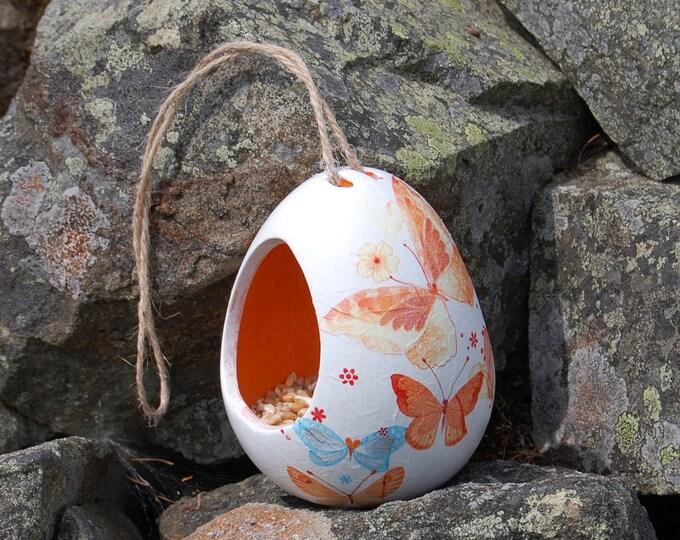 Butterfly Butterflies Two Tone White and Orange Ceramic Wild Bird Seed Feeder  - Gardening Gifts - Scottish Gifts - Birds - Apple - Balls
