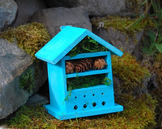 Turquoise Wooden Insect House - Bug Hotel - -Beasts Vacation - Bee House - Gardening Gifts - Garden - Scottish Gifts - Scotland-