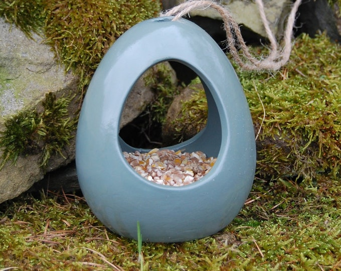 Green Ceramic Wild Bird Seed Feeder  - Gardening Gifts - Scottish Gifts - Birds - Apple - Balls - Scotland - Gardener - Nature - Garden