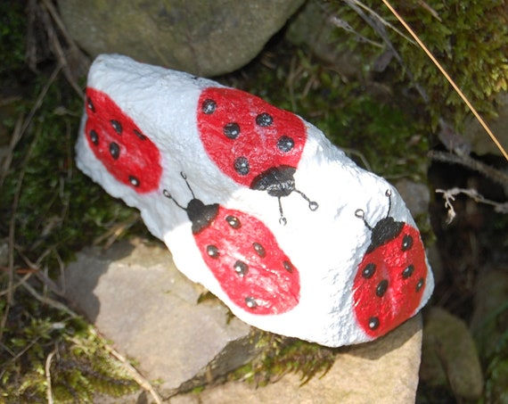 Red  Ladybird Ladybug Lovebug, Garden Art, Garden Stone, Stepping Stone, Garden Decor, Sculpture, Natural Stone, Door Stop Paperweight