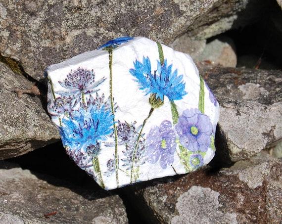 Meadow Flowers, Blue and Purple  Garden Art - Garden Stone - Stepping Stone - Garden Decor - Decorative Sculpture